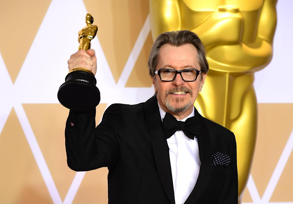 Gary Oldman with his Best Actor Oscar for Darkest Hour. (PA)