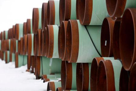 FILE PHOTO: A depot used to store pipes for Transcanada Corp's planned Keystone XL oil pipeline is seen in Gascoyne, North Dakota, U.S. on January 25, 2017.    REUTERS/Terray Sylvester/File Photo