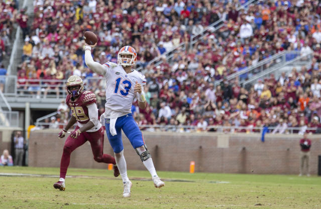 Florida quarterback Feleipe Franks threw for 2,457 yards and 24 TDs in 2018. (AP Photo/Mark Wallheiser)