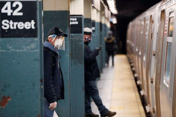 PHOTO: A man wears a mask while waiting to ride the New York City Subway as the outbreak of the coronavirus disease (COVID-19) continues in New York, April 30, 2020. (Lucas Jackson/Reuters)