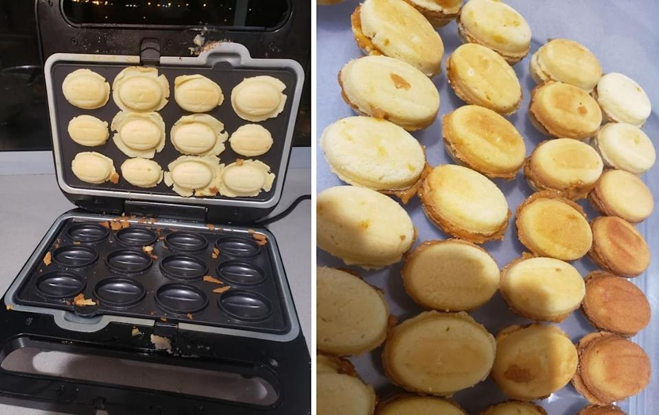 Russian nut cookies made in the Aldi snack maker