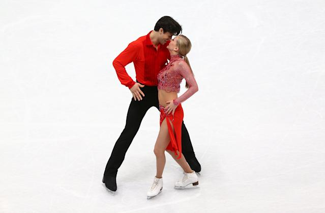 Figure Skating - World Figure Skating Championships - The Mediolanum Forum, Milan, Italy - March 23, 2018 Canada's Kaitlyn Weaver and Andrew Poje during the Ice Dance Short Dance program REUTERS/Alessandro Bianchi