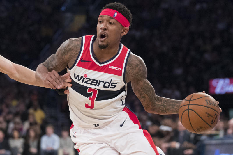 Washington Wizards guard Bradley Beal handles the ball during the first half of an NBA basketball game against the New York Knicks, Sunday, April 7, 2019, at Madison Square Garden in New York. (AP Photo/Mary Altaffer)