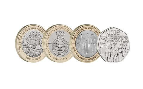 The four coins released this year - Credit: The Royal Mint