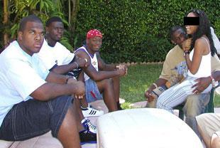Nevin Shapiro and a second source said this photo was taken in April 2003, during Shapiro's 34th birthday celebration at his $2.7 million Miami Beach home. From left to right are Orien Harris, Marcus Maxey, Javon Nanton and Antrel Rolle.