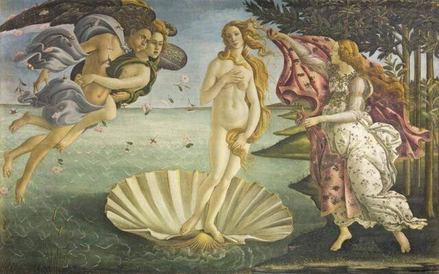The shell on which goddess Venus is standing represents a vagina