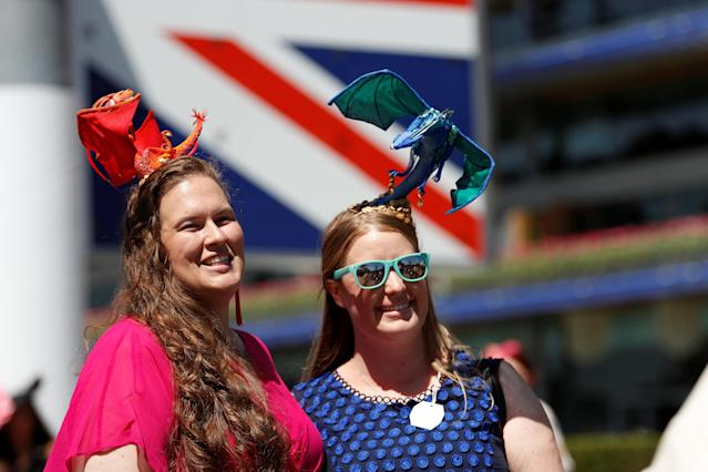 Horse Racing - Royal Ascot - Ascot Racecourse, Ascot, Britain - June 21, 2018 Racegoers pose before the start of the racing Action Images via Reuters/Andrew Boyers