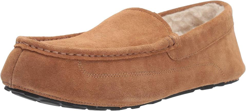 <p>Keep his feet toasty warm with these <span>Amazon Essentials Men's Leather Moccasin Slippers</span> ($22).</p>