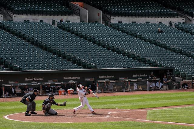 The Baltimore Orioles played the Chicago White Sox in an empty ballpark amid civil unrest in June 2015. (Photo by Ken Cedeno/Corbis via Getty Images)