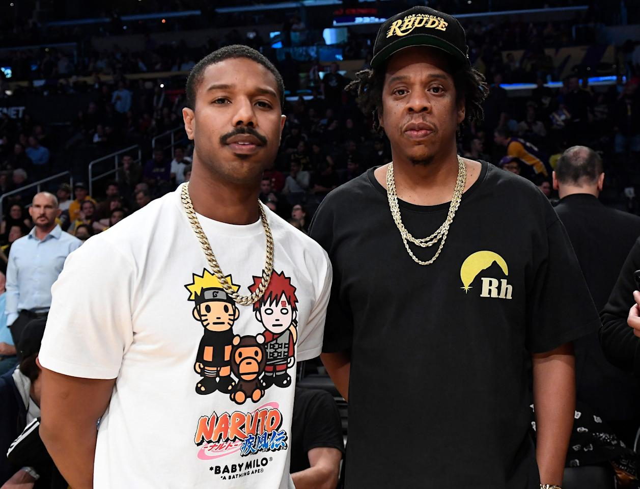 <p>Michael B. Jordan and JAY-Z meet up at the Los Angeles Lakers vs. Milwaukee Bucks basketball game at Staples Center in Los Angeles on Friday night.</p>