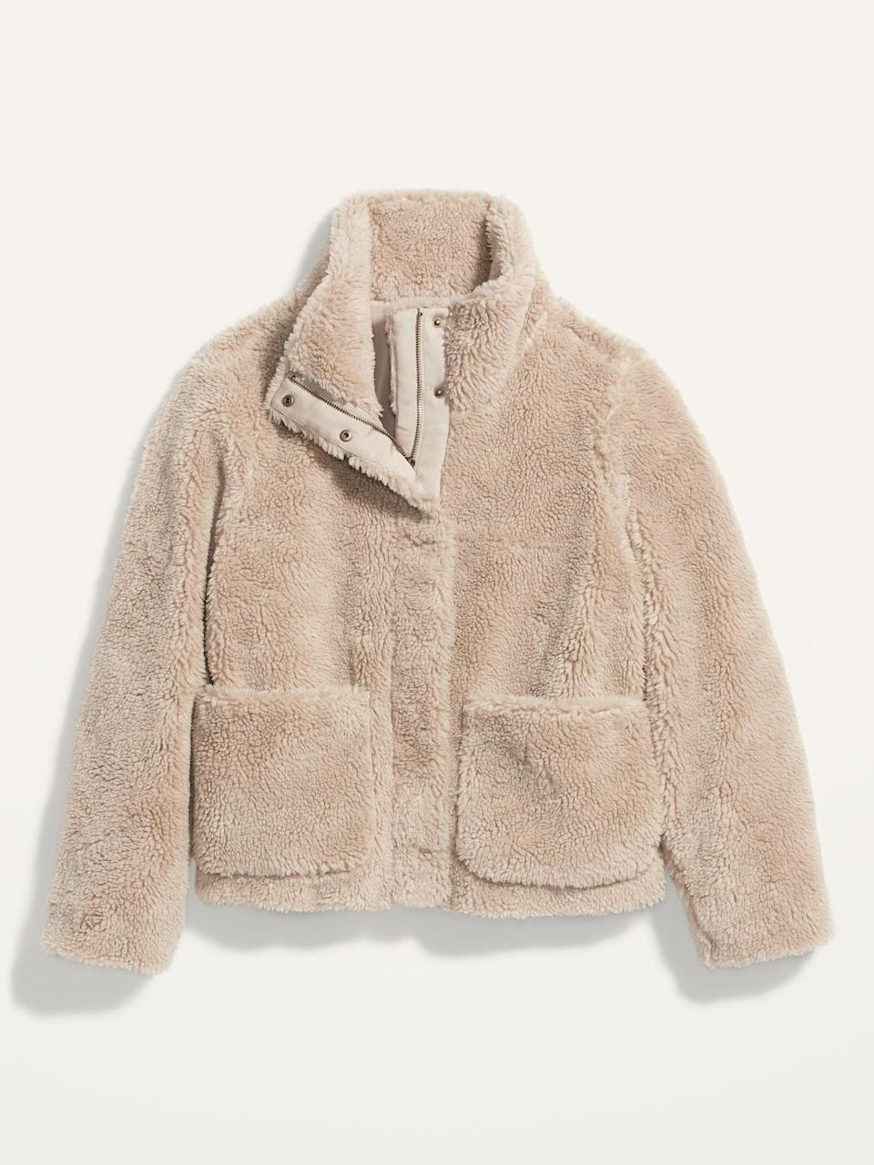 <p>We want to wear this <span>Cozy Sherpa Faux-Fur Jacket </span> ($48, originally $65) on chilly mornings when we go on walks for coffee. The large front pockets are great for stashing your phone and keys.</p>