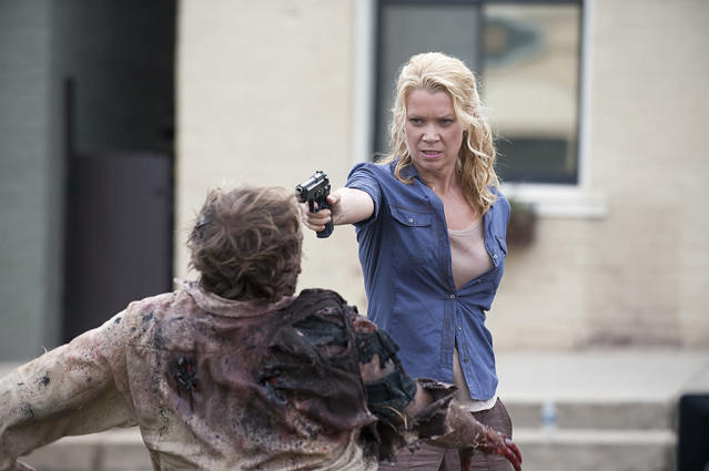 <p>TV Andrea died in the season 3 finale, at the end of the Woodbury storyline. But Comics Andrea was alive and well up until this past May! She was also much more of a central figure — basically, the leading lady and a decisive, capable sharp-shooter. That's unlike TV Andrea, whose wishy-washiness turned off fans.<br><br>(Photo Credit: Gene Page/AMC) </p>