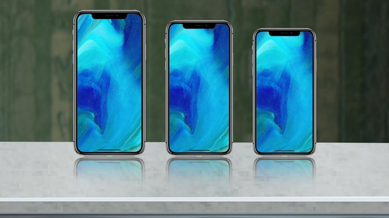The comparative sizes of the three new Apple smartphones expected in 2018.