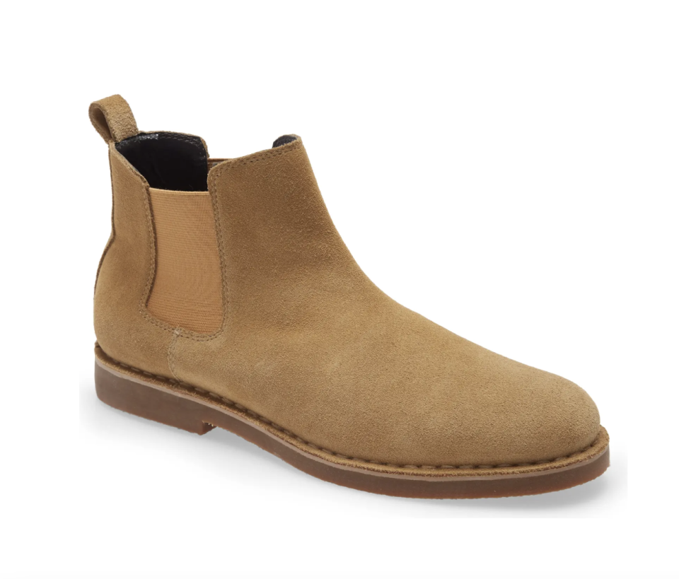 BP. Payce Suede Chelsea Boot in Sand Suede on white background