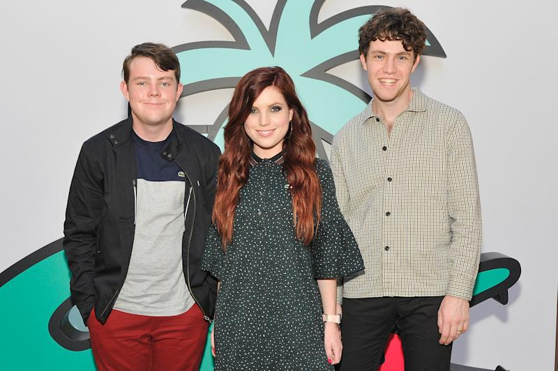 LOS ANGELES, CA - SEPTEMBER 21: Graham Sierota, Sydney Sierota and Noah Sierota of Echosmith attend the Lacoste Century City Grand Opening on September 21, 2018 in Los Angeles, California. (Photo by John Sciulli/Getty Images for Lacoste)