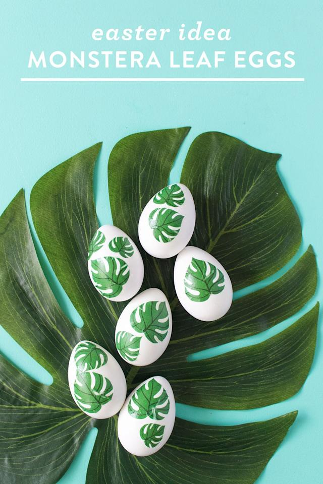 "<p>Use a painting technique called ""decoupage"" to apply printable ferns to real or fake eggs.  </p><p><a class=""body-btn-link"" href=""https://sarahhearts.com/diy-monstera-leaf-easter-eggs/"" target=""_blank"">GET THE TUTORIAL</a></p><p><a class=""body-btn-link"" href=""https://www.amazon.com/Mod-Podge-CS11303-Waterbase-Sealer/dp/B0009ILH8C/ref=sr_1_5?keywords=mod+podge&qid=1583438694&sr=8-5&tag=syn-yahoo-20&ascsubtag=%5Bartid%7C10072.g.31215916%5Bsrc%7Cyahoo-us"" target=""_blank"">SHOP MOD PODGE</a></p>"