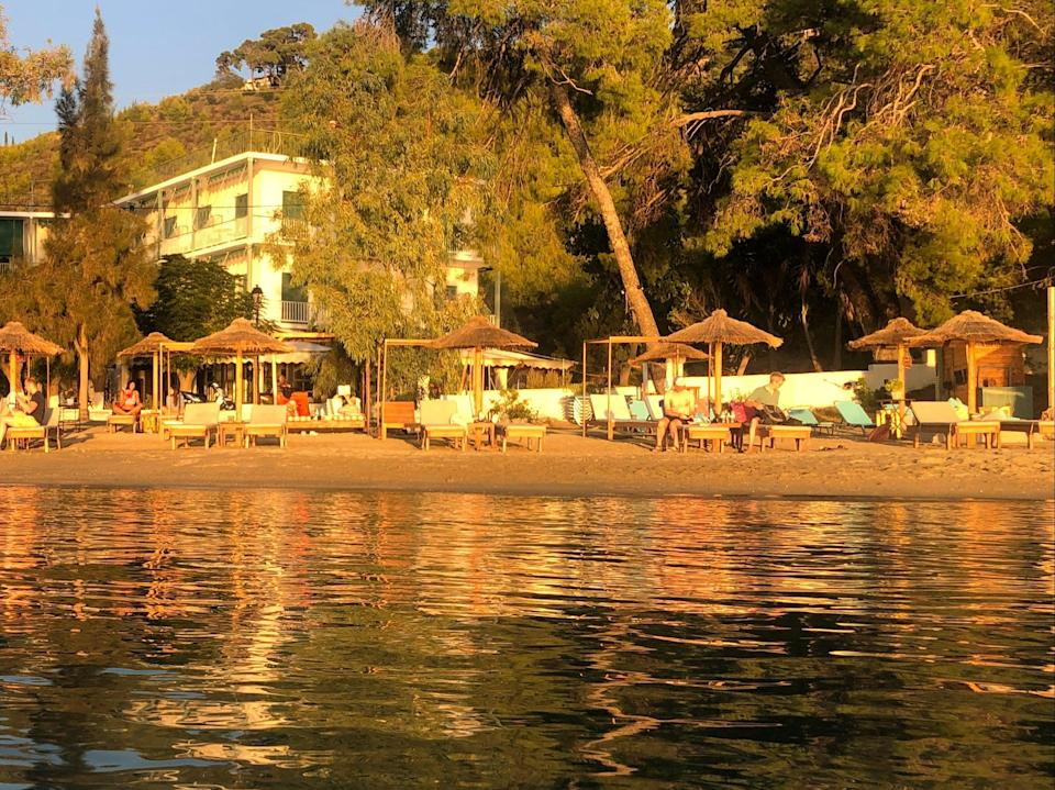<p>Distant dream: a beach on the Greek island of Poros in late October 2020</p> (Simon Calder)