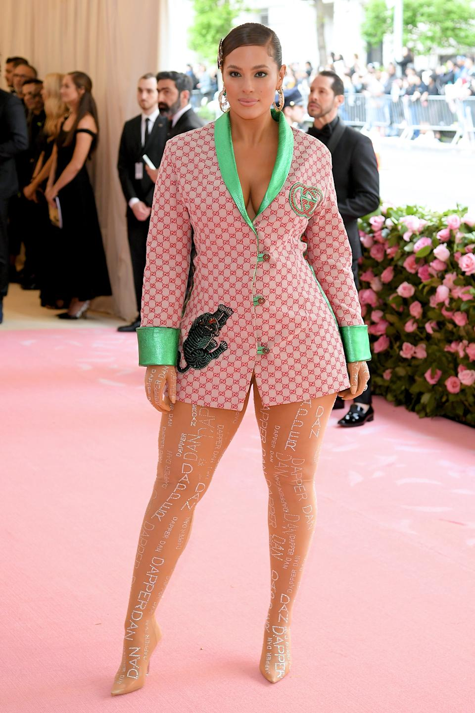 """<h1 class=""""title"""">Ashley Graham in Dapper Dan wearing Amwaj and Hueb earrings, a Brumani ring, and a Stephen Webster ring.</h1><cite class=""""credit"""">Photo: Getty Images</cite>"""