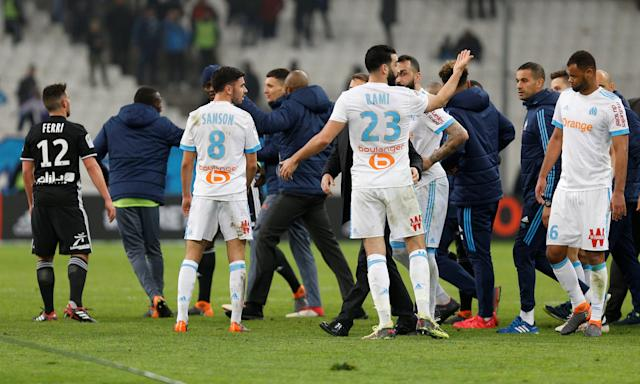 Soccer Football - Ligue 1 - Olympique de Marseille vs Olympique Lyonnais - Orange Velodrome, Marseille, France - March 18, 2018 Marseille's Adil Rami after the match REUTERS/Philippe Laurenson