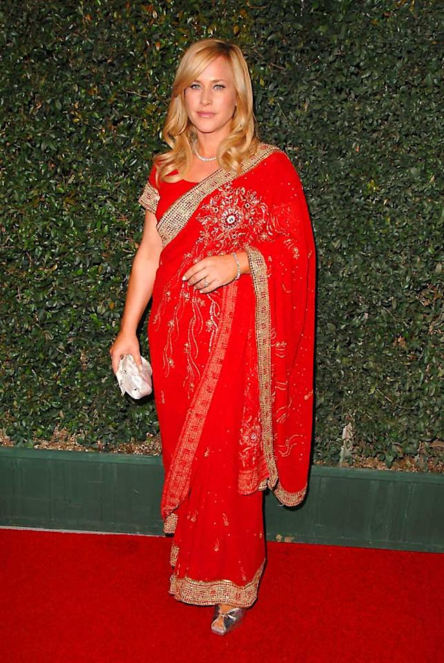 "Freshly coiffed ""Medium"" star Patricia Arquette dazzles in her ornate sari. Steve Granitz/<a href=""http://www.wireimage.com"" target=""new"">WireImage.com</a> - January 12, 2008"