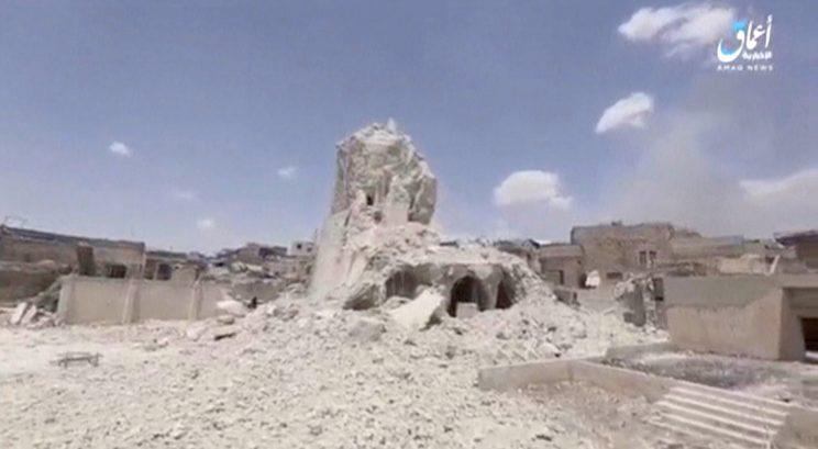 A frame of video shows the Grand al-Nuri Mosque site destroyed