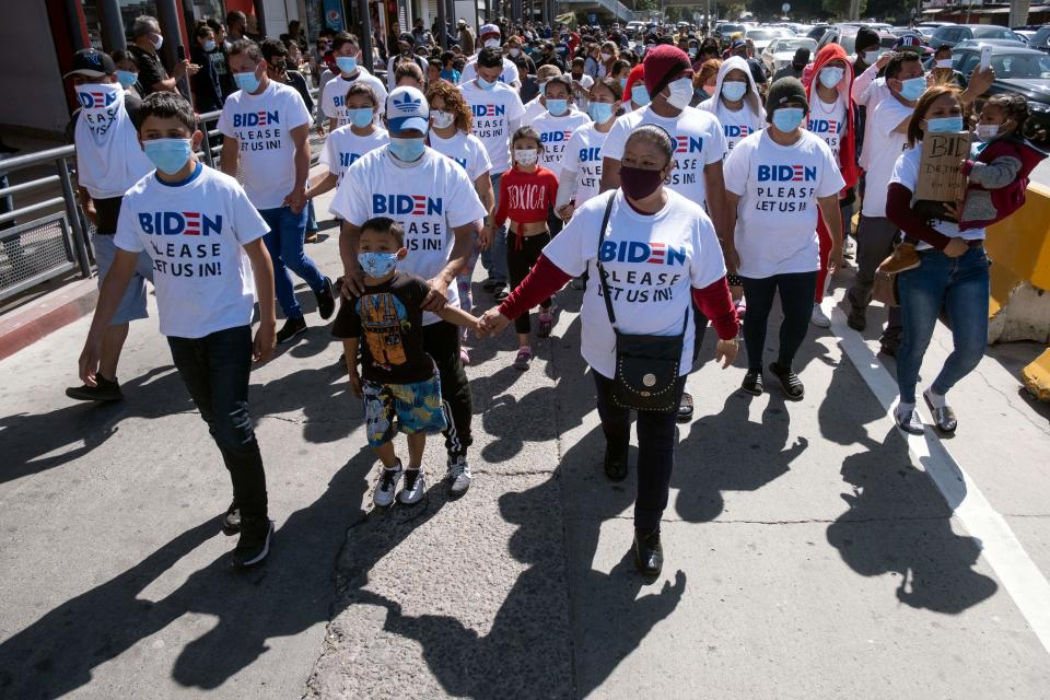 Migrants hold a demonstration demanding clearer United States migration policies.
