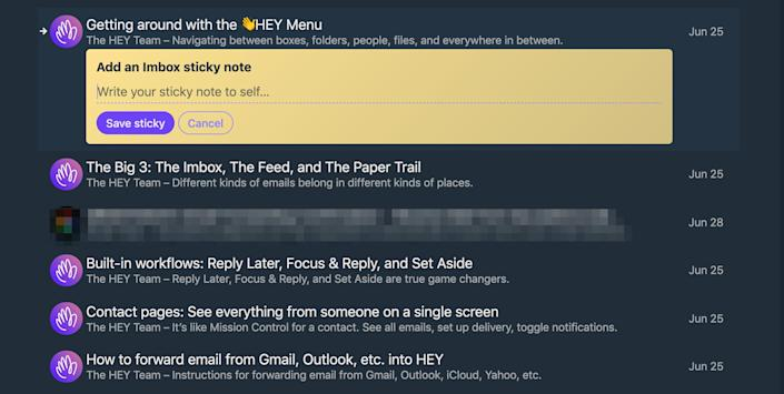 You can add sticky notes to emails in Hey.