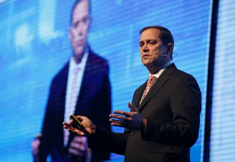 Chuck Robbins, CEO, Cisco, USA, speaks at a Cyber security conference in Tel Aviv, Israel