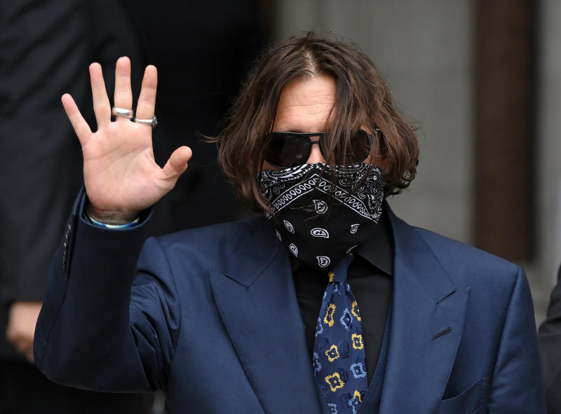 LONDON, ENGLAND - JULY 09: Johnny Depp arrives for his libel case against the Sun Newspaper at the Royal Courts of Justice at Royal Courts of Justice, Strand on July 09, 2020 in London, England. The Hollywood actor is taking News Group Newspapers, publishers of The Sun, to court over allegations that he was violent towards his ex-wife, Amber Heard, 34. (Photo by Karwai Tang/WireImage)