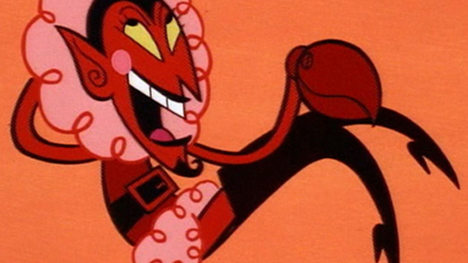 The Powerpuff Girls villain HIM, a devil-like creature, lounges in a void in a Santa-esque outfit with thigh-high heels..