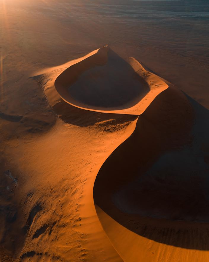 'Sand dunes in Namibia' by @joeshelly shows See  sand dunes in Namibia, home to some of the world's largest dunes.