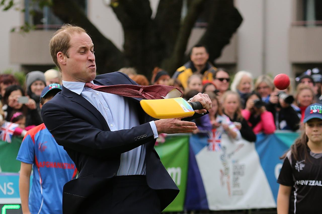 CHRISTCHURCH, NEW ZEALAND - APRIL 14: Prince William, Duke of Cambridge plays a game of cricket during a visit to Latimer Square on April 14, 2014 in Christchurch, New Zealand. The Duke and Duchess of Cambridge are on a three-week tour of Australia and New Zealand, the first official trip overseas with their son, Prince George of Cambridge. (Photo by Martin Hunter/Getty Images)
