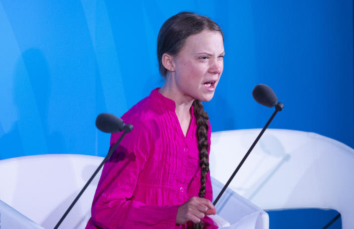 Teenage climate activist Greta Thunberg speaks during the U.N. Climate Action Summit in New York City on Monday. (Timothy A. Clary/AFP/Getty Images)