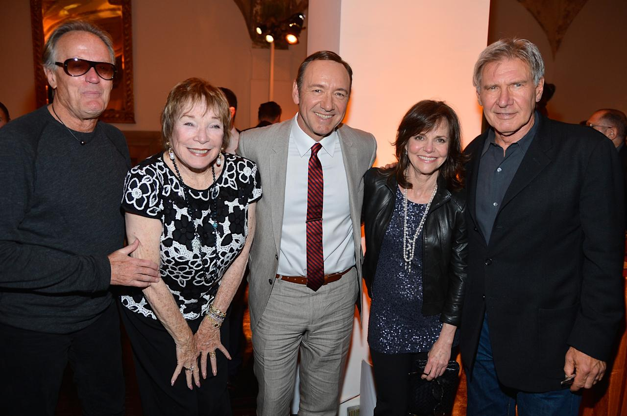 HOLLYWOOD, CA - APRIL 24:  (L-R) Actors Peter Fonda, Shirley MacLaine, Kevin Spacey, Sally Field, and Harrison Ford attend the after party for Target Presents AFI's Night at the Movies at Hollywood Athletic Club on April 24, 2013 in Hollywood, California.  (Photo by Frazer Harrison/Getty Images for AFI)