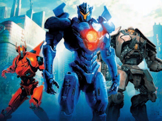 The Jaegers of <em>Pacific Rim: Uprising</em>. (Image: Universal)