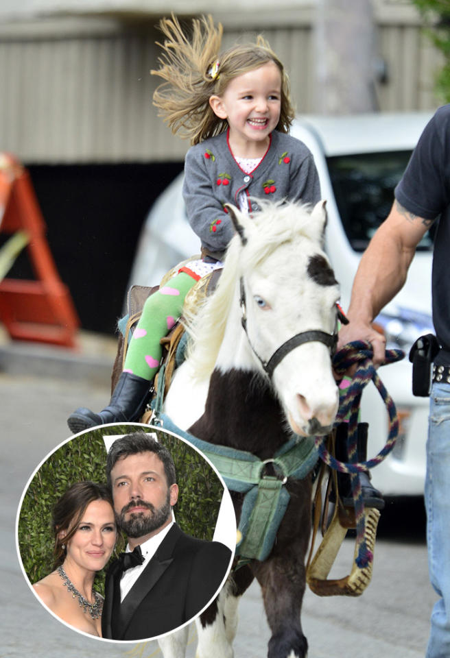 Seraphina Affleck is seen riding a pony at the farmer's market as she and her mother Jennifer Garner and sister Violet Affleck visit a local Farmer's Market.