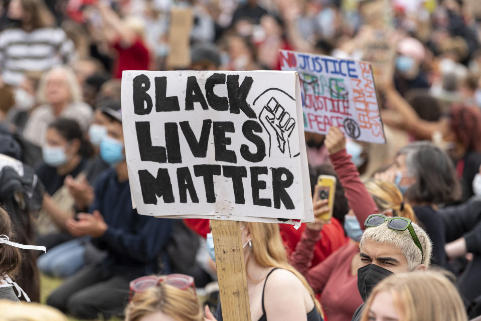 A Black Lives Matter placard during the Black Lives Matter protest at Hyde Park. Several protest have been spur by the recent killing of George Floyd, a black man who died in police custody in Minneapolis, U.S.A. (Photo by Dave Rushen / SOPA Images/Sipa USA)