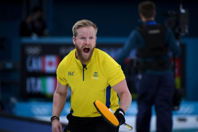 <p>Sweden's Niklas Edin reacts during the curling men's round robin session between Denmark and Sweden during the Pyeongchang 2018 Winter Olympic Games. </p>