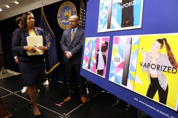 PHOTO: State Attorney General Letitia James leaves the podium after announcing a lawsuit against e-cigarette giant Juul on Nov. 19, 2019, in New York. (Spencer Platt/Getty Images, FILE)
