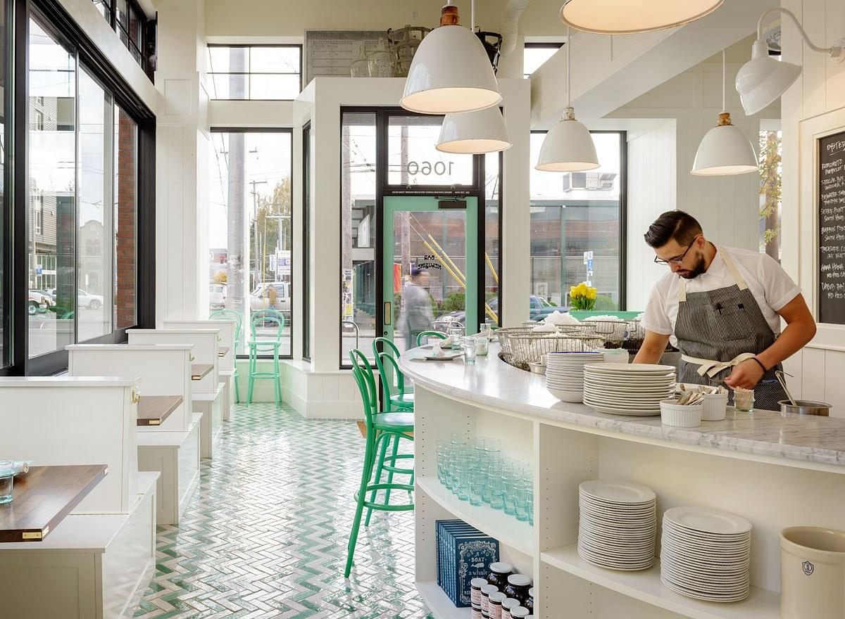 <p><strong>Give us an overview of the space.</strong><br> At Bar Melusine, mint-colored stools surround a marble bar, topped with metal oyster baskets. Behind it, a chalkboard boasts the bivalve varieties on offer that day. When the sun's out, light pours in; even when it's gray and rainy, the space's bright charm ensures a cheerful start to the day.</p> <p><strong>What was the crowd like?</strong><br> Residents from nearby condos swing by for oysters and Champagne en route to a matinee or an errand in the neighborhood. Wedding-party brunches pop bottles along a white banquette near the back. Solo diners dip fat fries into aioli while engrossed in Instagram. At once casual and classy, this is a a choose-your-own-adventure kind of spot.</p> <p><strong>What should we be drinking?</strong><br> The sparkly digs and light fare cry out for a glass of Champagne, and you can always trust Renee Erickson's crew to assemble a first-rate list. Other options include French reds, whites, and roses, a short beer and cider list, plus carefully crafted cocktails that flow from start to close.</p> <p><strong>Main event: the food. Give us the lowdown—especially what not to miss.</strong><br> Designed for grazing, the menu of small plates boasts a rich steak tartare topped with a fat yolk and served with brown-bread toast; fried pastries from Erickson's General Porpoise doughnut shop two doors down; and an earthy buckwheat crêpe stuffed with coppa, watercress, mustard, and Gruyère. And every meal here should start with a sampling of fresh Pacific Northwest oysters, ever changing but always the best in the city.</p> <p><strong>And the staff?</strong><br> Trust the friendly, studied staff to help you navigate everything from oyster varietals to Chablis options.</p> <p><strong>Anything else we should keep in mind</strong> The bill at Melusine can creep up quickly, so order with care.</p> <p><strong>What's the real-real on why we're coming here?</strong><br> Whether you seek to charm, impr