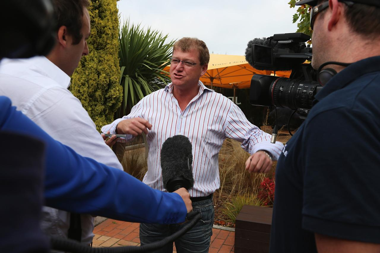 CHRISTCHURCH, NEW ZEALAND - MARCH 28:  Steve Holmes, the manager of Aikmans Bar, talks to media outside Aikmans where Jesse Ryder was visiting the night before, on March 28, 2013 in Christchurch, New Zealand.  New Zealand cricketer Jesse Ryder, 28, is currentrly in intensive care after suffering a serious head injury after reportedly being beaten up near the bar,   (Photo by Joseph Johnson/Getty Images)