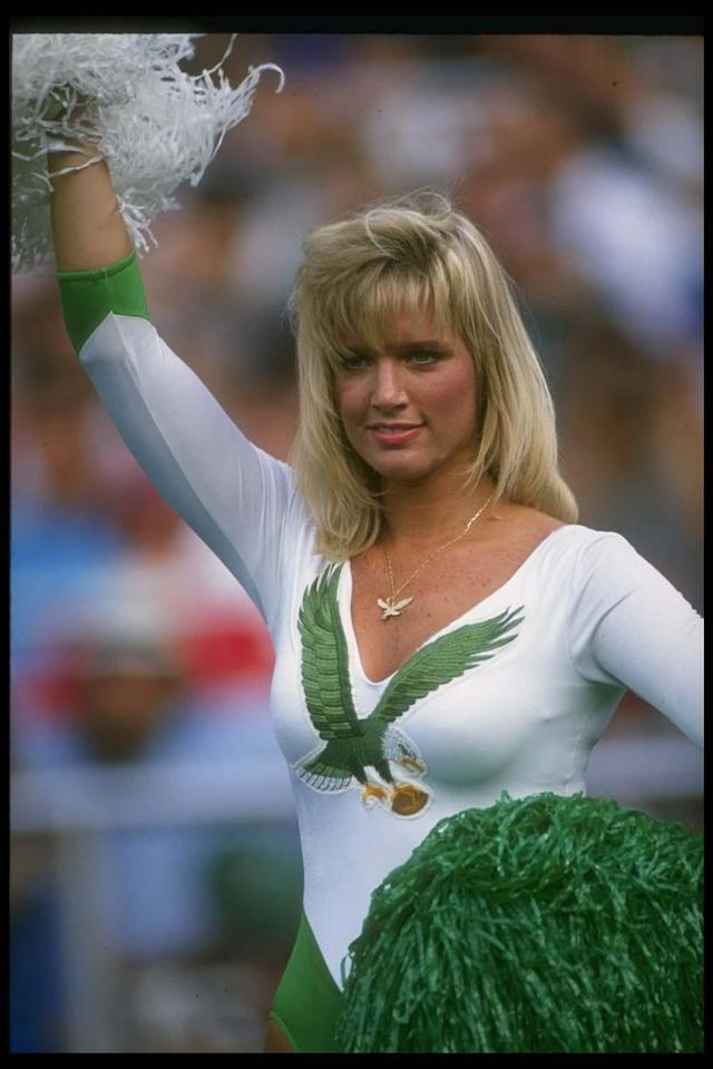 10 Sep 1989: A Philadelphia Eagles cheerleader looks on during a game against the Seattle Seahawks at Veteran's Stadium in Philadelphia, Pennsylvania. The Eagles won the game, 31-7. Mandatory Credit: Doug Pensinger /Allsport