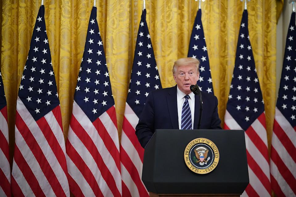 US President Donald Trump speaks on protecting Americas seniors from the COVID-19 pandemic in the East Room of the White House in Washington, DC on April 30, 2020. (Photo by MANDEL NGAN / AFP) (Photo by MANDEL NGAN/AFP via Getty Images)