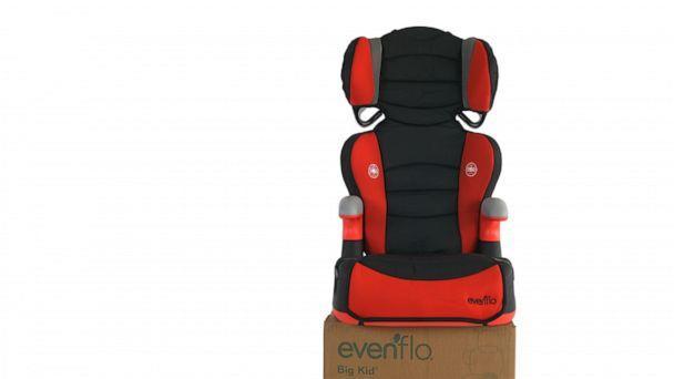 """PHOTO: This is an Evenflo Big Kid booster seat purchased by ProPublica in January 2020. It is labeled as safe for children who are at least 30 pounds and has """"side impact tested"""" labels. (ProPublica)"""
