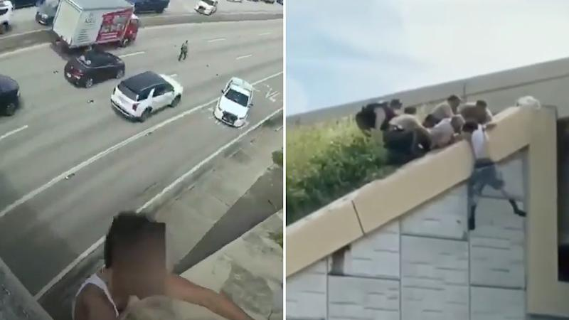 Scenes from a police rescue of a man who was found dangling over a busy motorway in Florida.