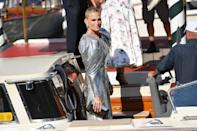 <p>Molly Sims made a statement in a silver sequined gown with puffy sleeves on Sept. 2.</p>