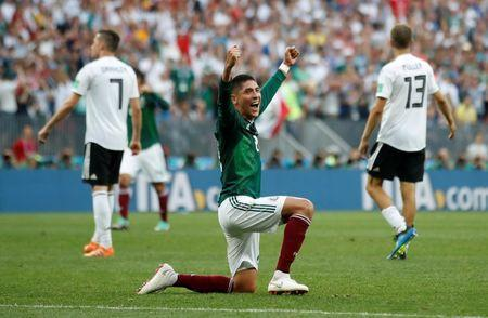 Soccer Football - World Cup - Group F - Germany vs Mexico - Luzhniki Stadium, Moscow, Russia - June 17, 2018 Mexico's Edson Alvarez celebrates after the match REUTERS/Carl Recine