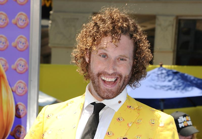 "Actor T.J. Miller attends the premiere of ""The Emoji Movie"" on July 23, 2017, in Westwood, California."