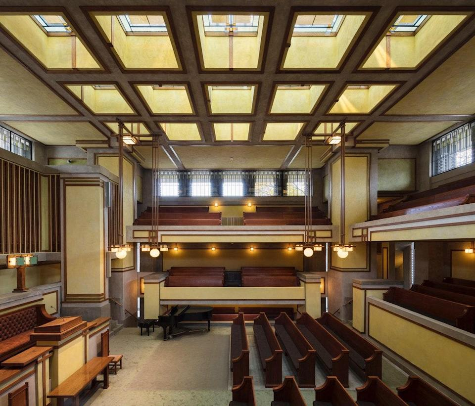 The interior of the Unity Temple.