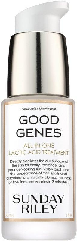 "<h3>Sunday Riley Good Genes Lactic Acid Treatment<br></h3><br>My twin sister is not a Beauty Person, like me, but literally has gone out of her way to text me photos of her Good Genes empties, proclaiming that this is ""the reason I'm not breaking out."" As of 2020, the brand dropped the price from $105 to $85, so TBH, consider this deal <em>better</em> than a sale.<br><br><strong>Sunday Riley</strong> Good Genes All-In-One Lactic Acid Treatment, $, available at <a href=""https://go.skimresources.com/?id=30283X879131&url=https%3A%2F%2Fwww.ulta.com%2Fgood-genes-all-in-one-lactic-acid-treatment%3FproductId%3Dpimprod2007866%23locklink"" rel=""nofollow noopener"" target=""_blank"" data-ylk=""slk:Ulta Beauty"" class=""link rapid-noclick-resp"">Ulta Beauty</a>"